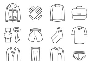 Mens clothes vector line icons set