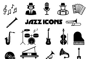 Jazz vector icon set