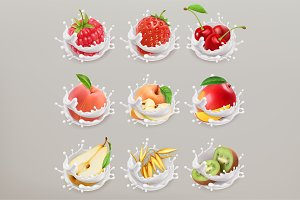 Fruit, berries and yogurt. 3d vector