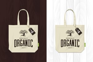 Vector shopping eco bag illustration