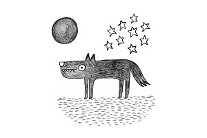 Wolf at night, graphite illustration