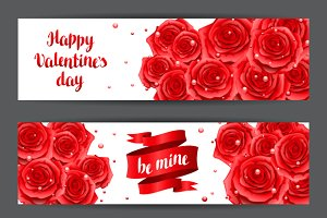 Happy Valentine day banners.