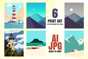 6 POSTERS PRINT ART