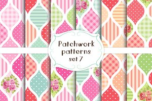Patchwork seamless patterns set#7