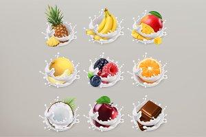 Fruit, berries and yogurt. 3d vector