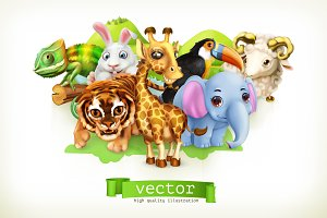Funny animal set. 3d vector