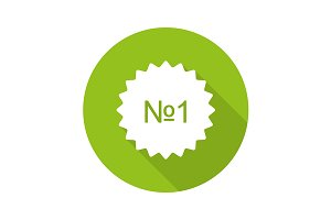Number 1 green sticker. Vector