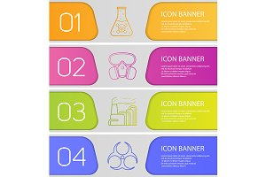 Industrial pollution banners. Vector