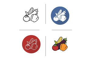 Vegetables. 4 icons. Vector