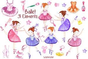 Watercolor ballerina clipart