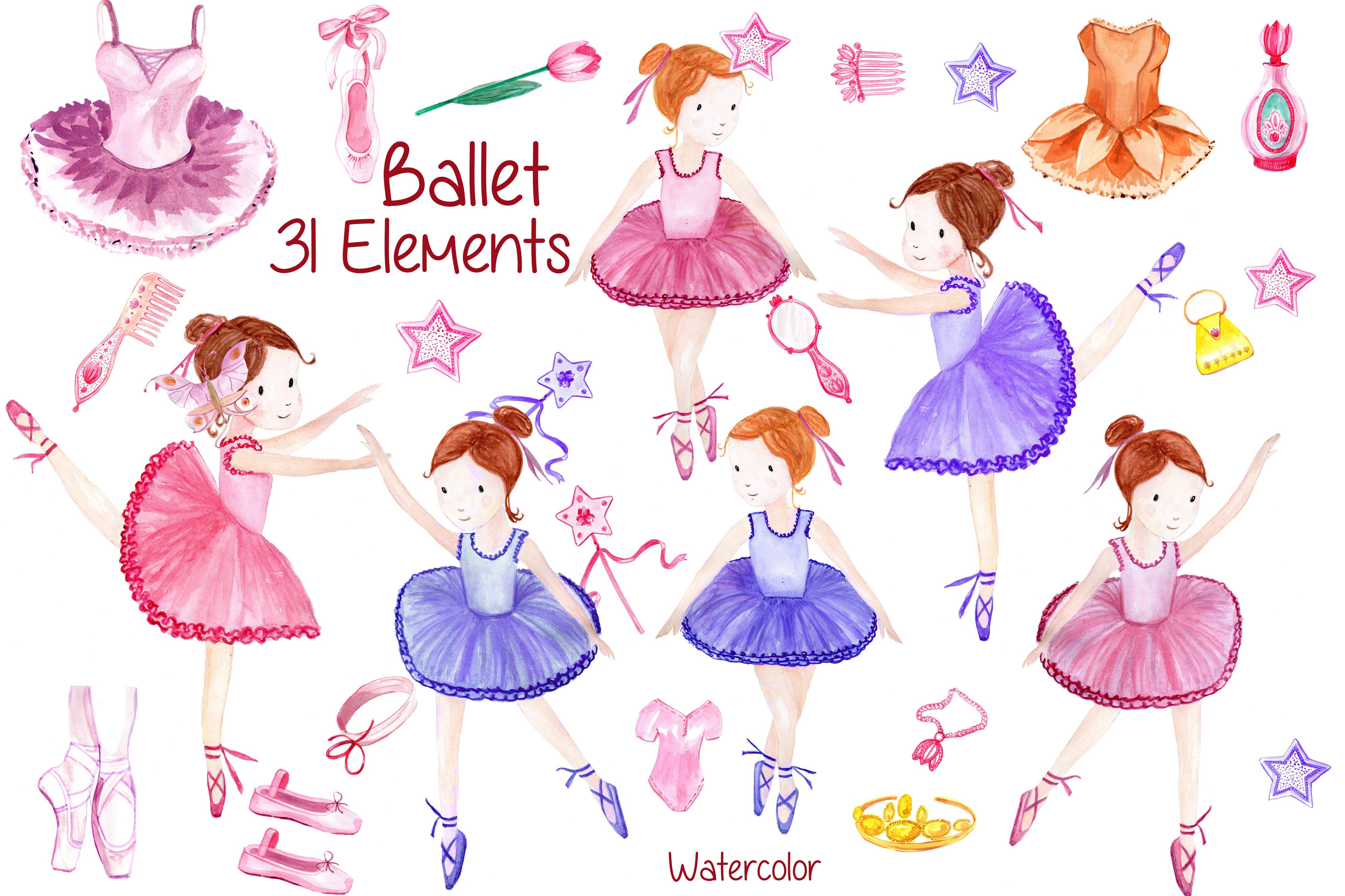 Watercolor ballerina clipart ~ Illustrations ~ Creative Market