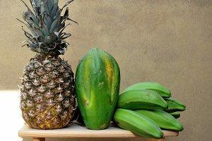 pineapple, papaya, banana