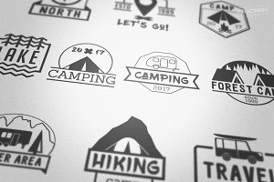 Camping Outdoor Badges Logos