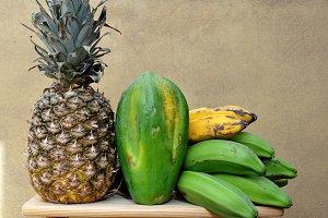 pineapple, bananas, papaya