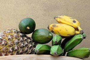 pineapple, bananas, papaya, avocados