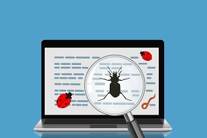 laptop with magnify glass and bugs