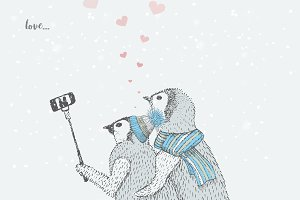 cute love penguins taking selfies