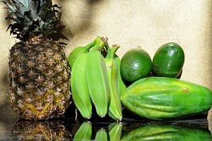 pineapple, bananas, avocados