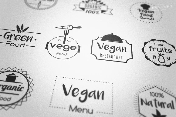Vegan Food Badges Logos-Graphicriver中文最全的素材分享平台