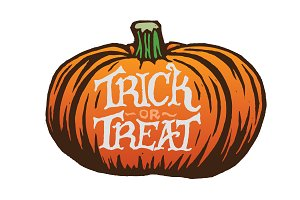 Trick or Treat Pumpkin Illustration