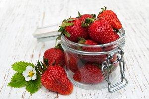 Jar with strawberries