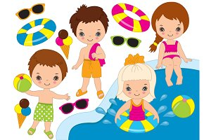 Vector Pool Party Kids Set