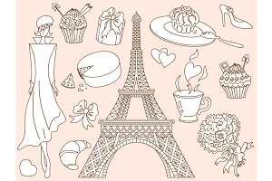 Vector Doodle Paris Set