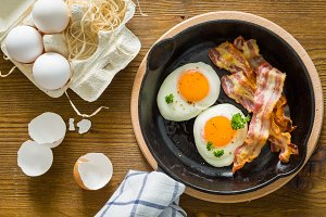 American breakfast with sunny side up eggs, bacon