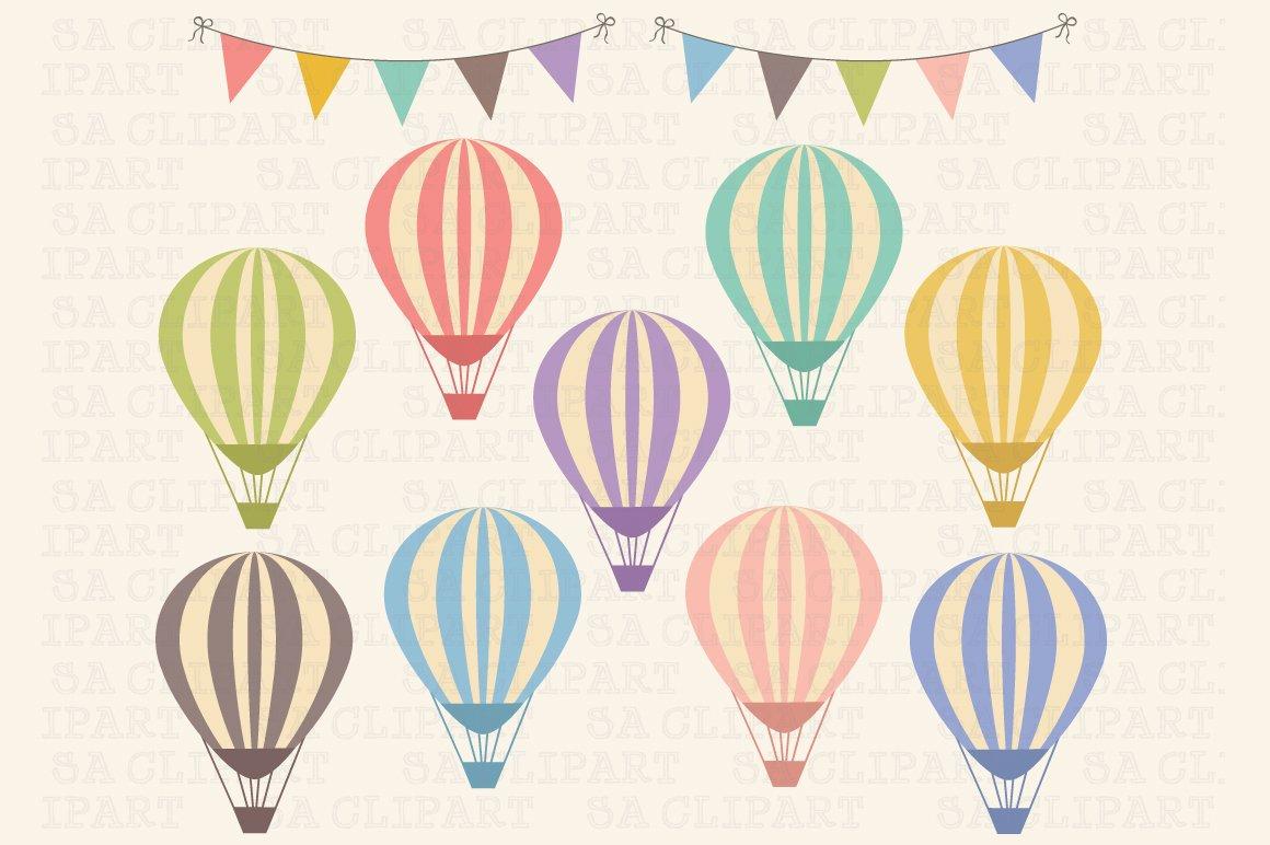 Hot Air Balloon Clip Art Illustrations Creative Market