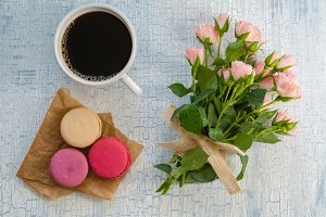 Morning coffee, flowers and macaroons