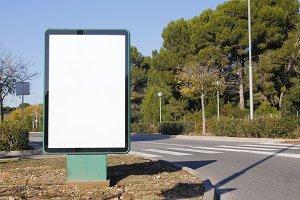 Blank billboard in the road