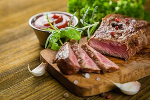 Beef steak with herbs and spices