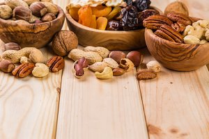 Selection of dried fruits and nuts as symbols Tu Bishvat