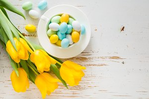 Easter cookies on white wood background