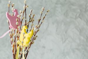 Easter decorations on pussy willow