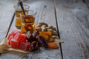 Turkish sweets, nuts and dried fruits, tea