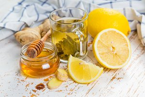 GInger and lemon tea with honey
