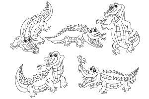 Vector Black & White Crocodile Set