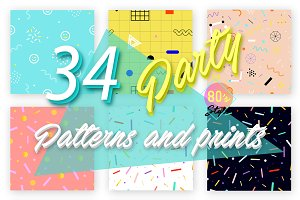 34 Party patterns/prints. 80's style
