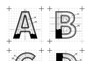 Blueprint style font on white symbol fonts creative market malvernweather Choice Image