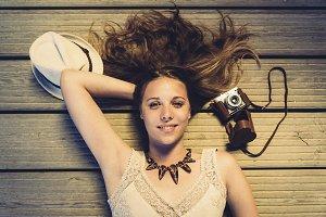Beautiful photographer woman.