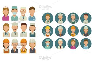Set icon cook builder medical people
