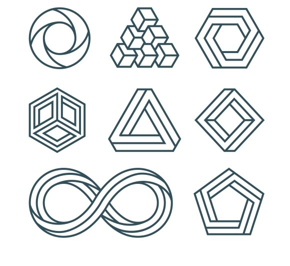 Impossible Shapes Thin Line Icons