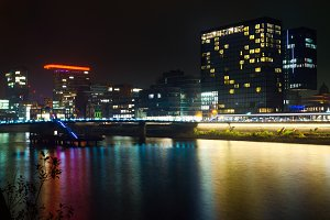 Night cityscape of bay in Dusseldorf