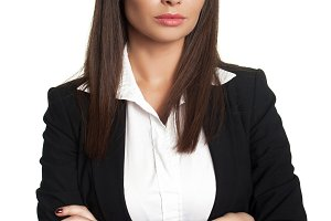 woman in black business suit