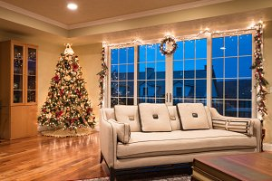 Ornate Christmas Tree in corner of modern home