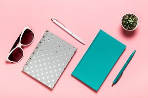 White and green-blue pen, glasses, silvery notebook, aquamarine diary, cactus on pink background. flat lay, top view.