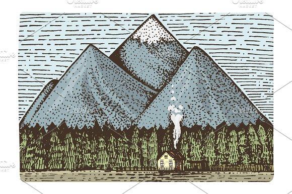 Engraved mountains landscape