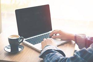 Man Typing Keyboard Laptop Hand.