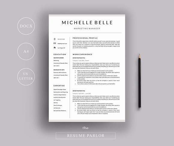 Resume 4 Page A4 US Letter Sizes Resume Templates Creative - Resume Size Letter Or A4